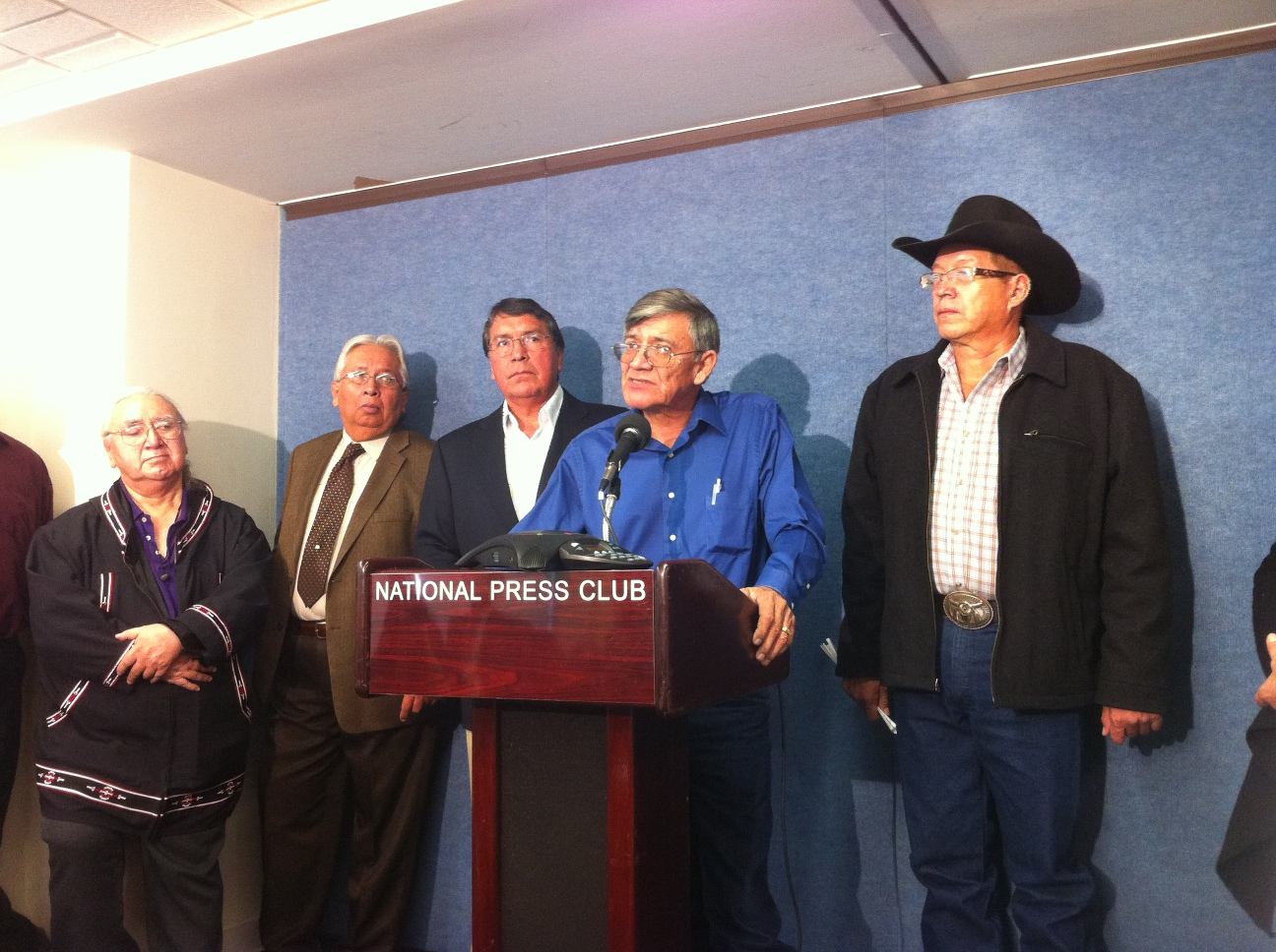 Oglala Sioux Tribe President John Steele speaking at National Press Club, 2011.