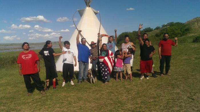 Human Shield of Prayer Moves in Front of Dakota Access Pipeline Construction!