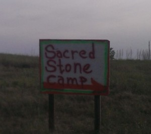 "Direction Sign to the ""Sacred Stone Camp"" near Cannonball, ND"