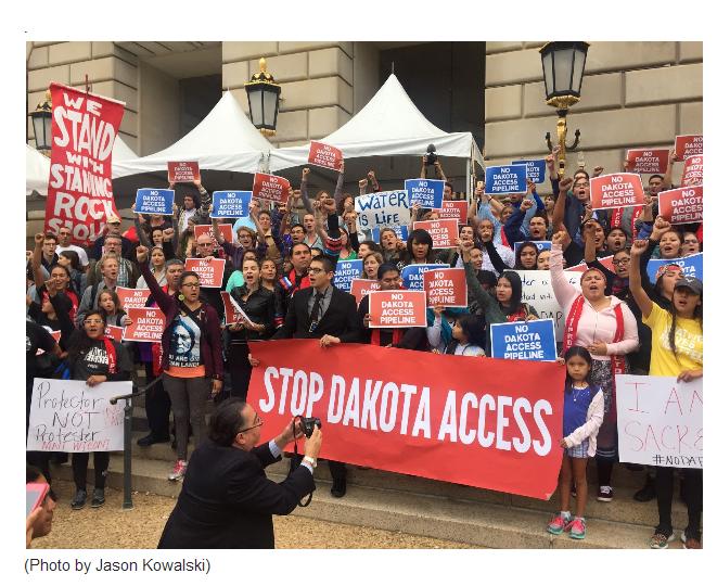 Hundreds Rally Against Dakota Access Pipeline Outside President Obama's Final Tribal Nations Summit