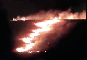 Screenshot of Myron Dewey's Facebook video of an arson grassfire started near the Oceti Sakowin Camp in North Dakota