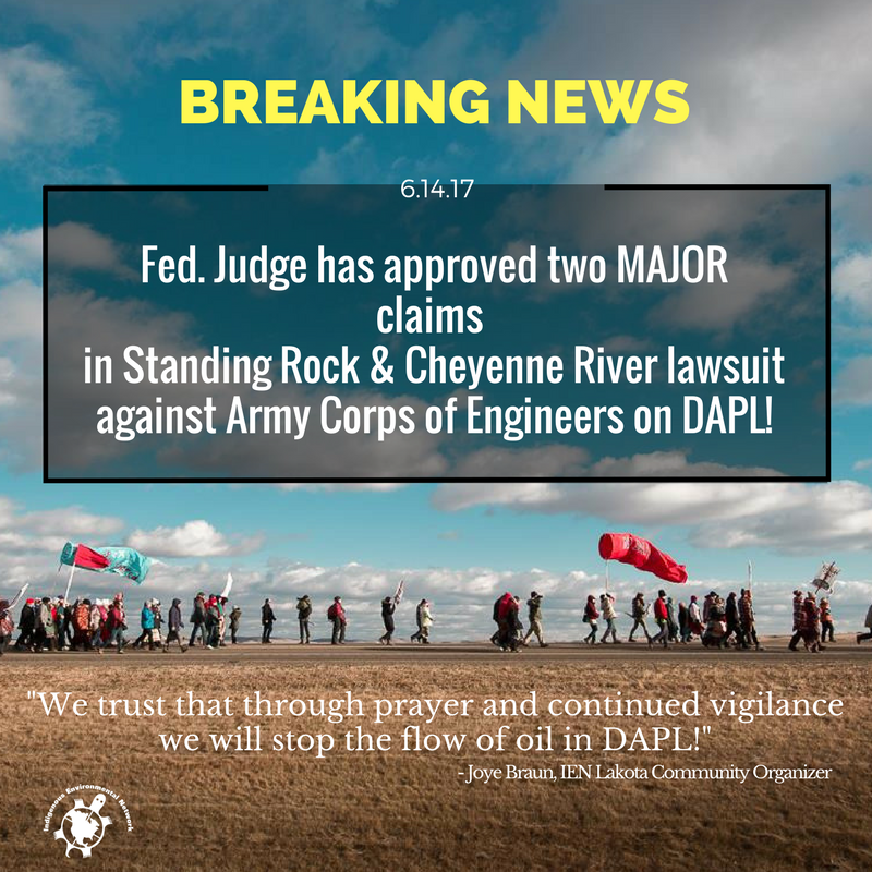 IEN Statement on Federal Court Ruling to Revisit DAPL Environmental Analysis